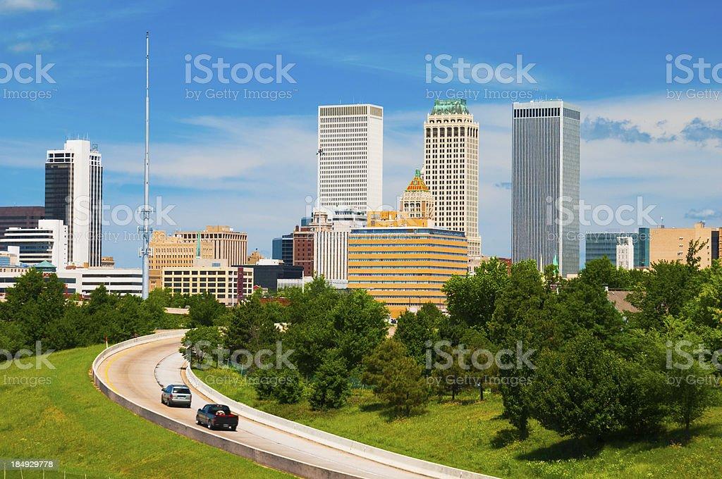 Tulsa skyline and road royalty-free stock photo
