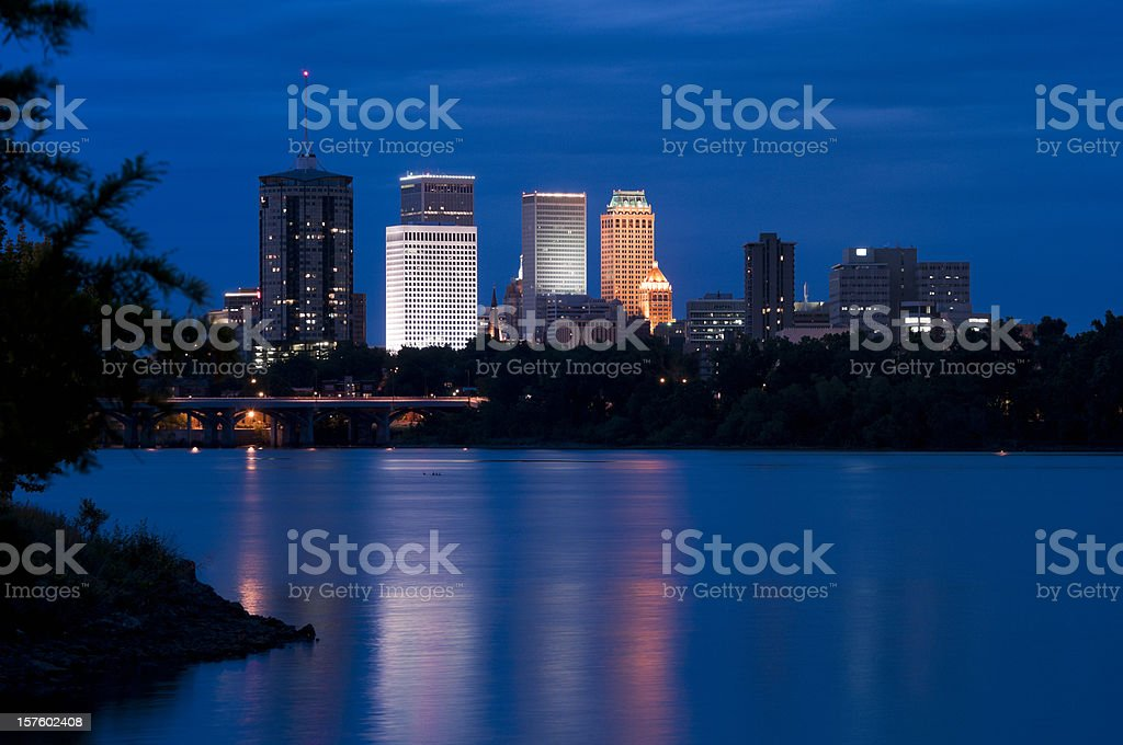 Tulsa Skyline at Dusk royalty-free stock photo