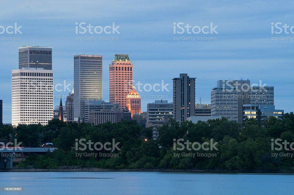 Tulsa Skyline at Dusk royalty-free stock photo