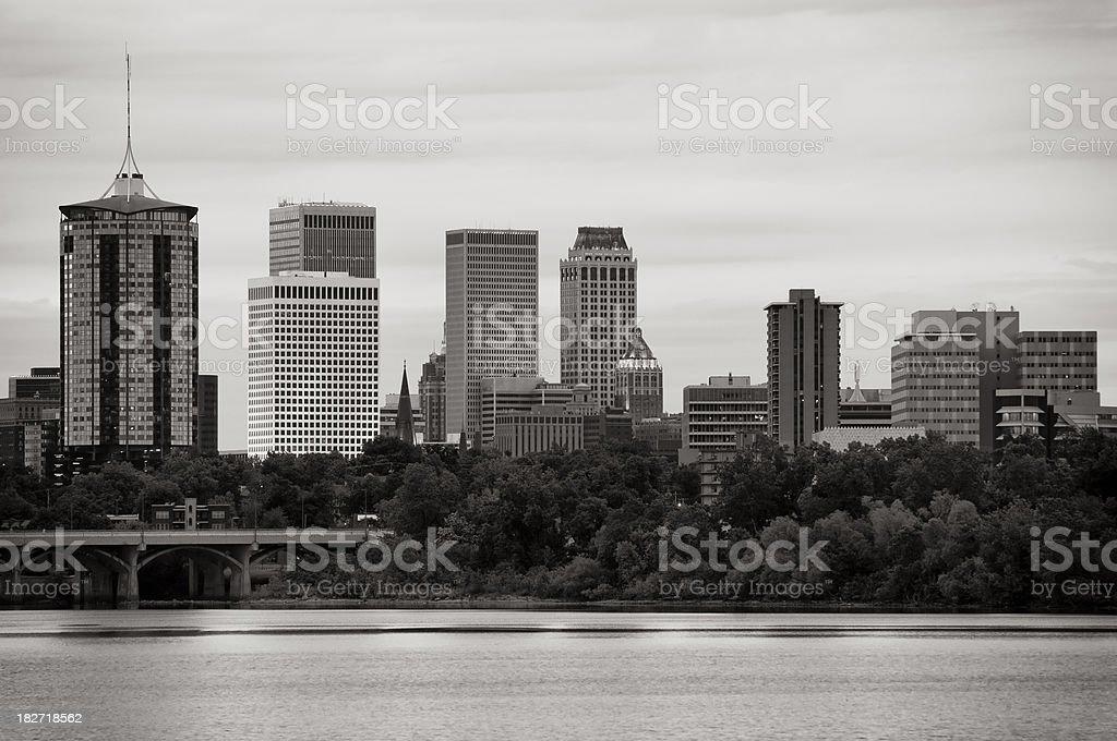 Tulsa Skyline Under Clouds at Dusk royalty-free stock photo
