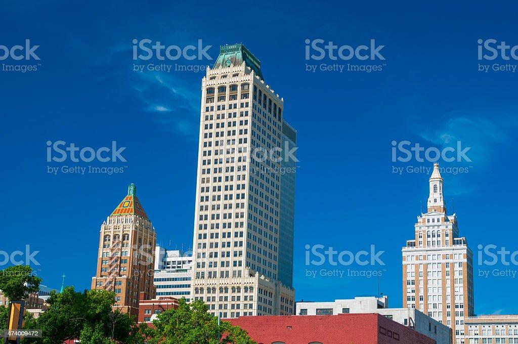 Tulsa skyscrapers and historic architecture stock photo