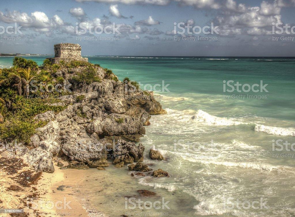 Tulum Ancient Caribbean Mayan Ruins stock photo
