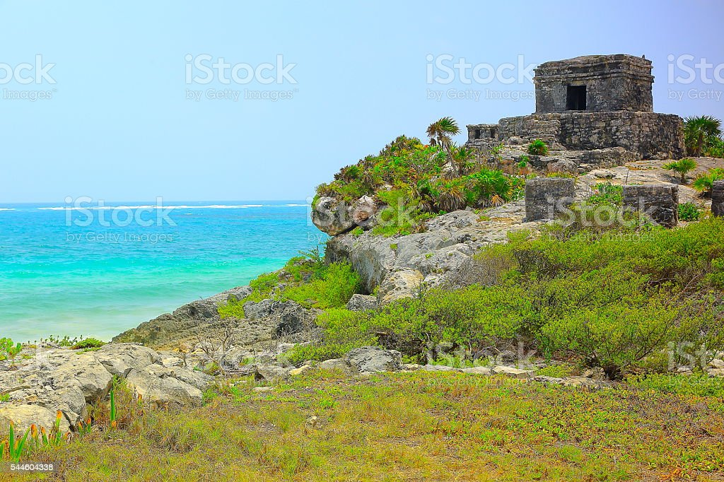Tulum ancient mayan ruins and caribbean turquoise beach, Mexico stock photo