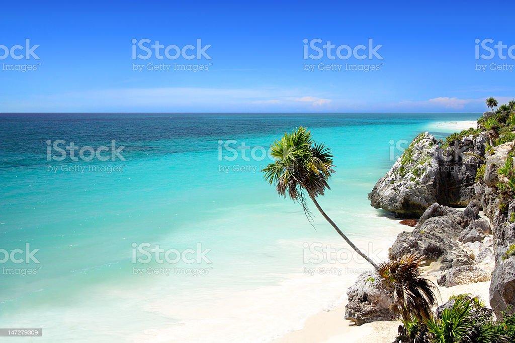 Tulum beach near Cancun, Mayan Riviera stock photo
