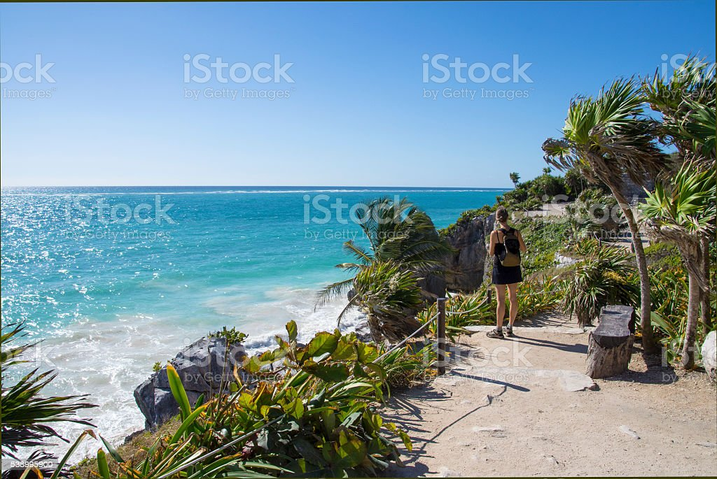 Tulum Caribbean view stock photo