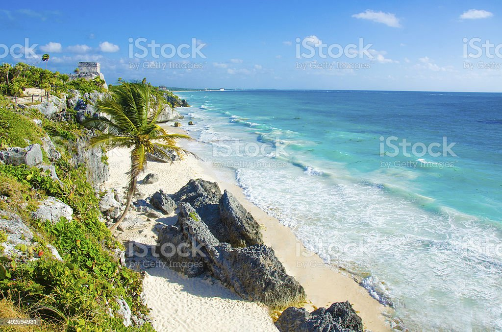 Tulum - Maya Temple stock photo