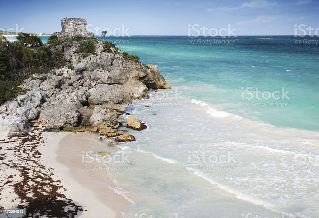 Tulum Mayan Watch Tower over a Beautiful Beach, Mexico stock photo