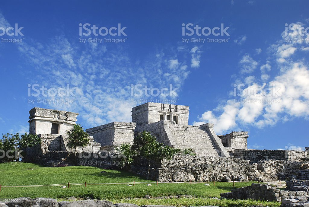 Tulum, Mexico with ancient Mayan temple stock photo