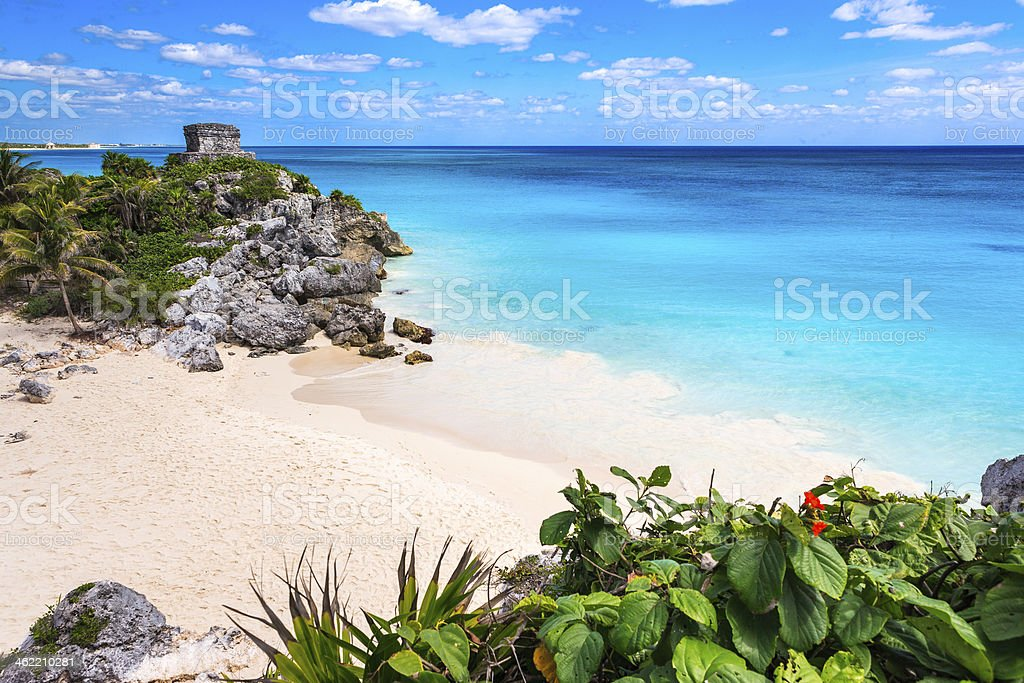 Tulum Ruins and Beach on Caribbean Sea, Riviera Maya, Mexico stock photo
