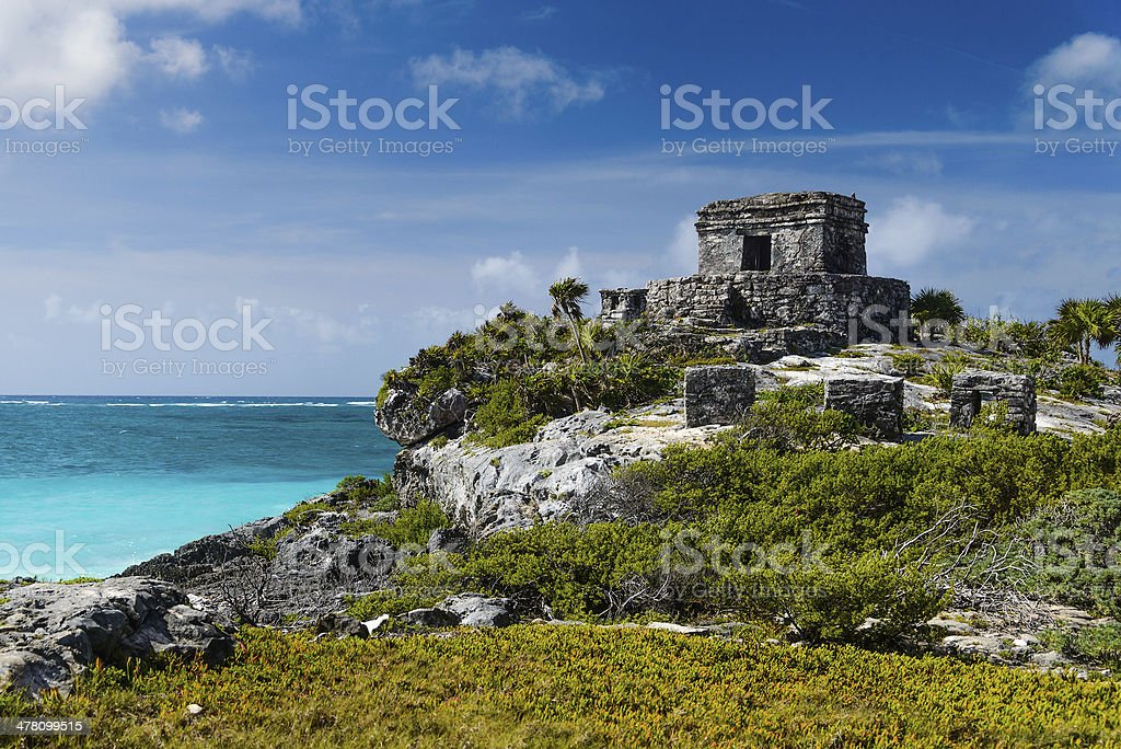 Tulum Ruins by the Caribbean Sea royalty-free stock photo