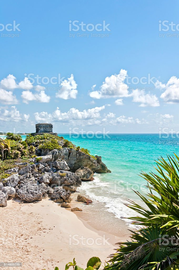 Tulum Ruins by the Caribbean Sea stock photo