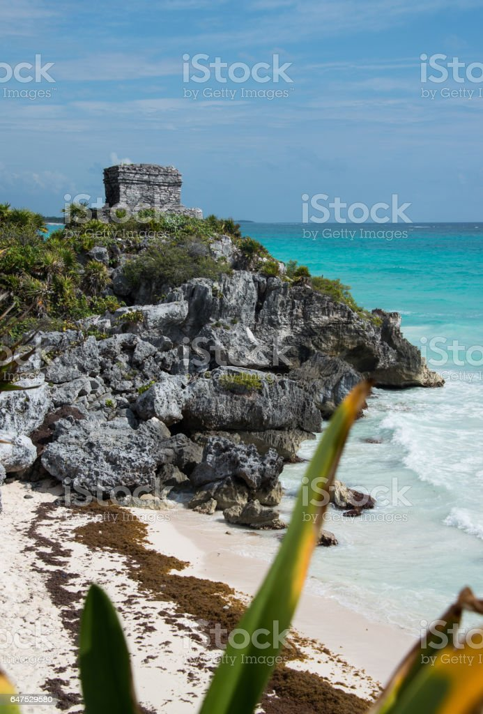 Tulum ruins Mayan watch tower in Mexico stock photo