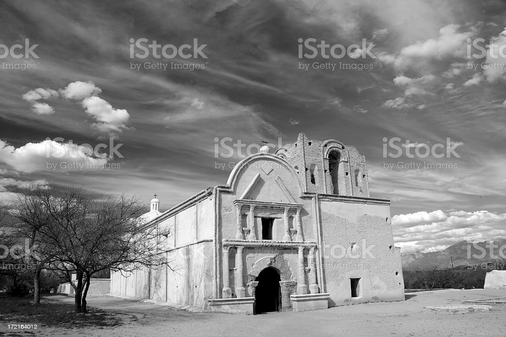 Tumacácori Mission in Black & White stock photo