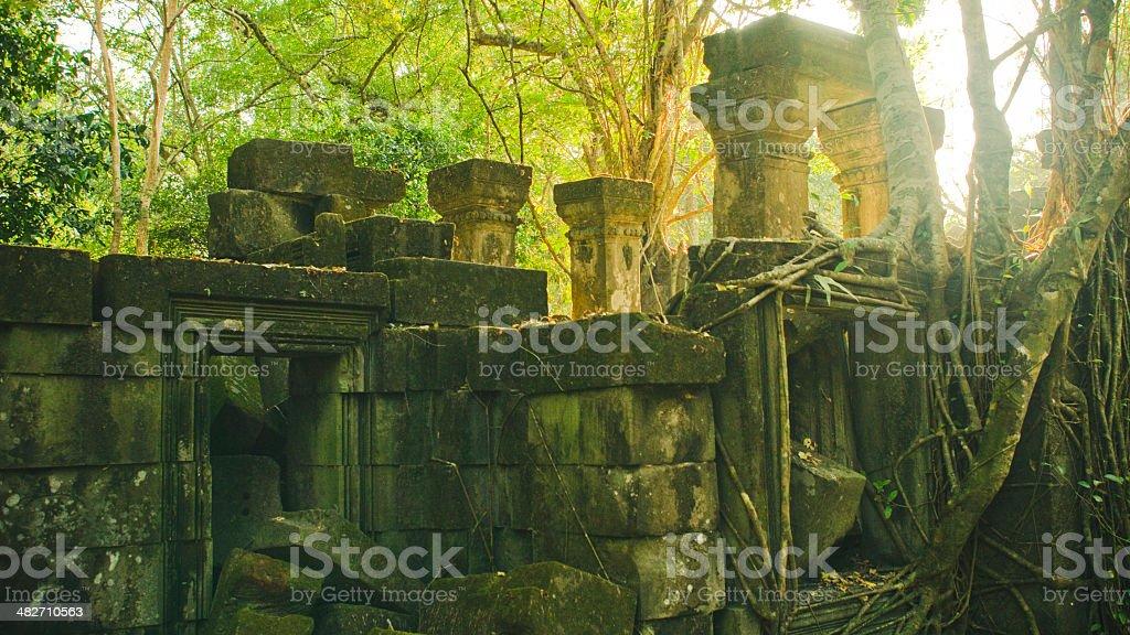 Tumbled down stones at Beng Melea, Cambodia stock photo
