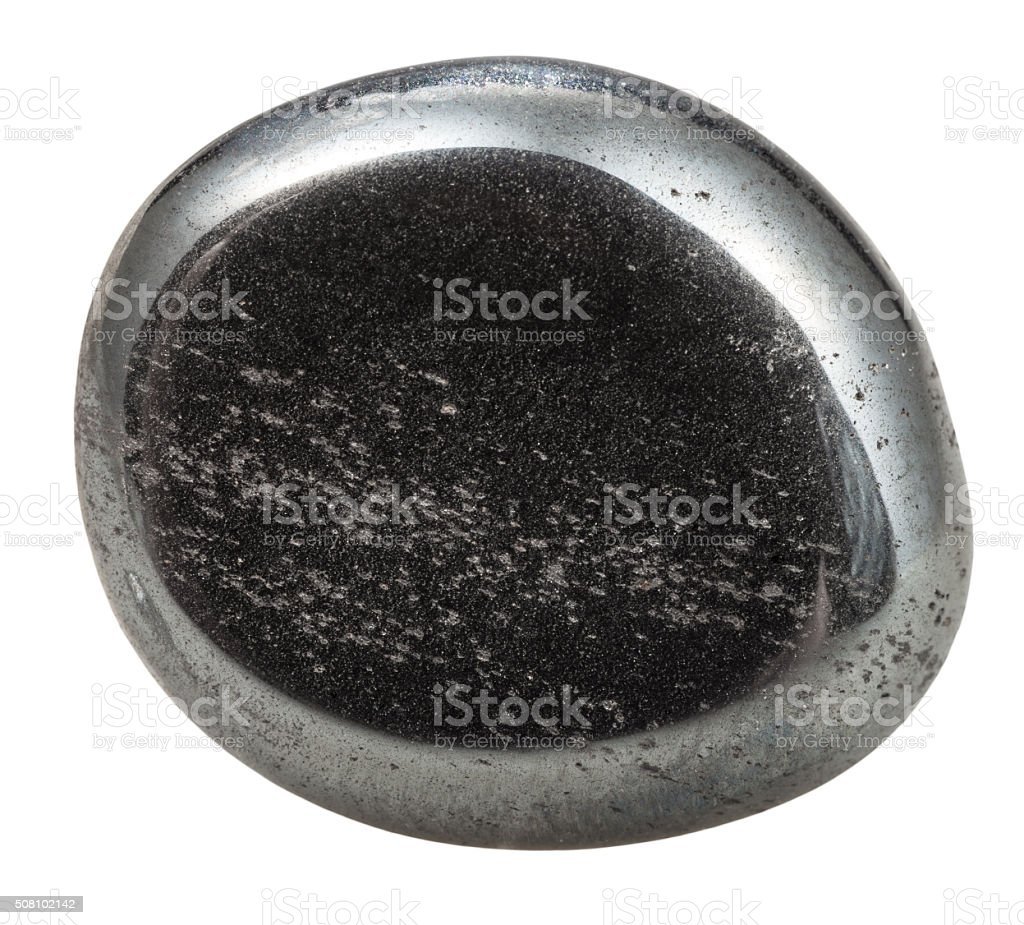 tumbled hematite natural mineral gem stone stock photo