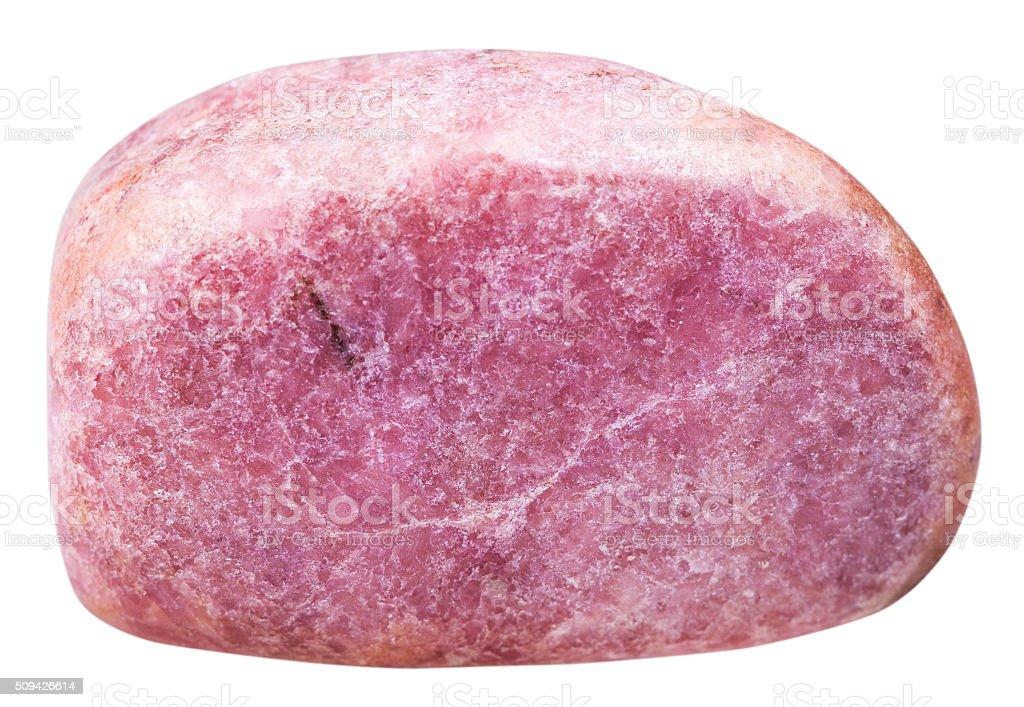 tumbled Rhodonite gemstone isolated on white stock photo