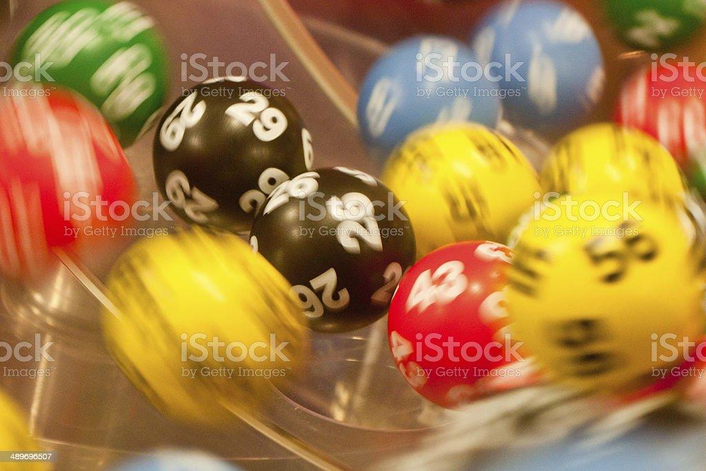 Tumbling bingo balls stock photo