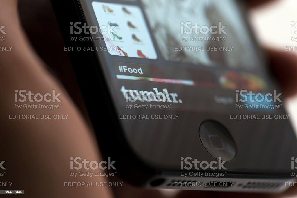 Tumblr app on Apple iPhone 5 stock photo