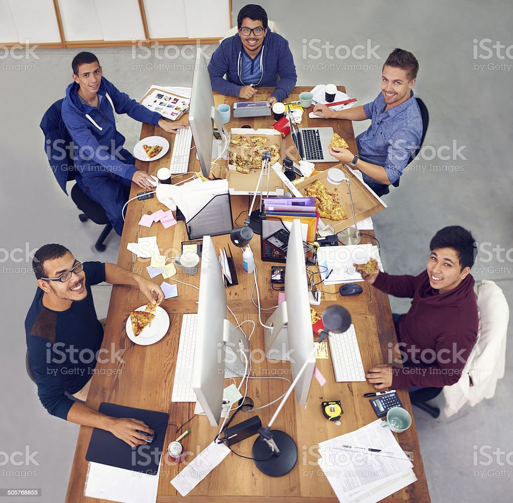 Tummy full, mind open stock photo
