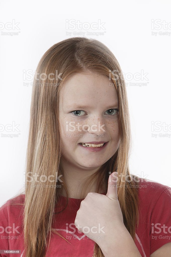tums up red headed girl stock photo
