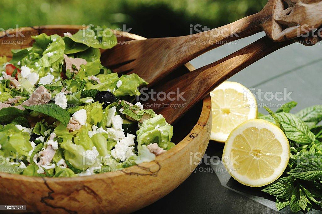 tuna and feta salad outdoors royalty-free stock photo