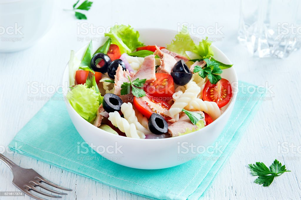 Tuna and pasta salad stock photo