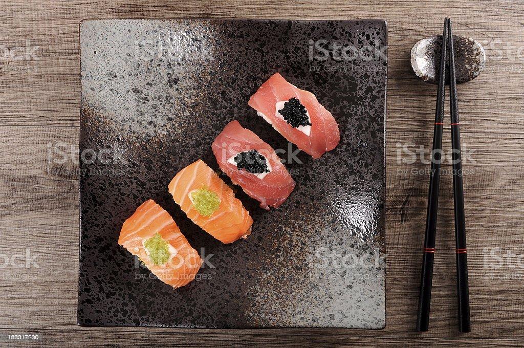 Tuna and salmon sushi royalty-free stock photo