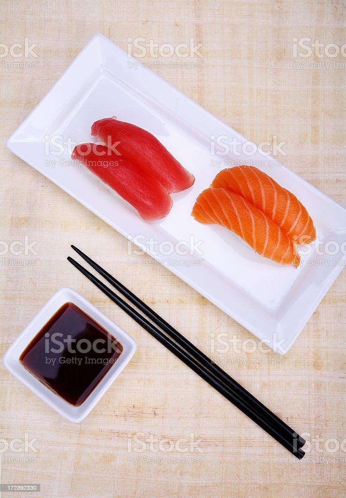 Tuna and Salmon Sushi plate royalty-free stock photo