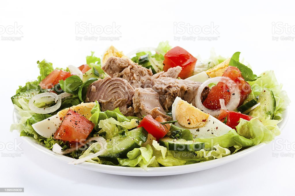 Tuna and vegetables stock photo