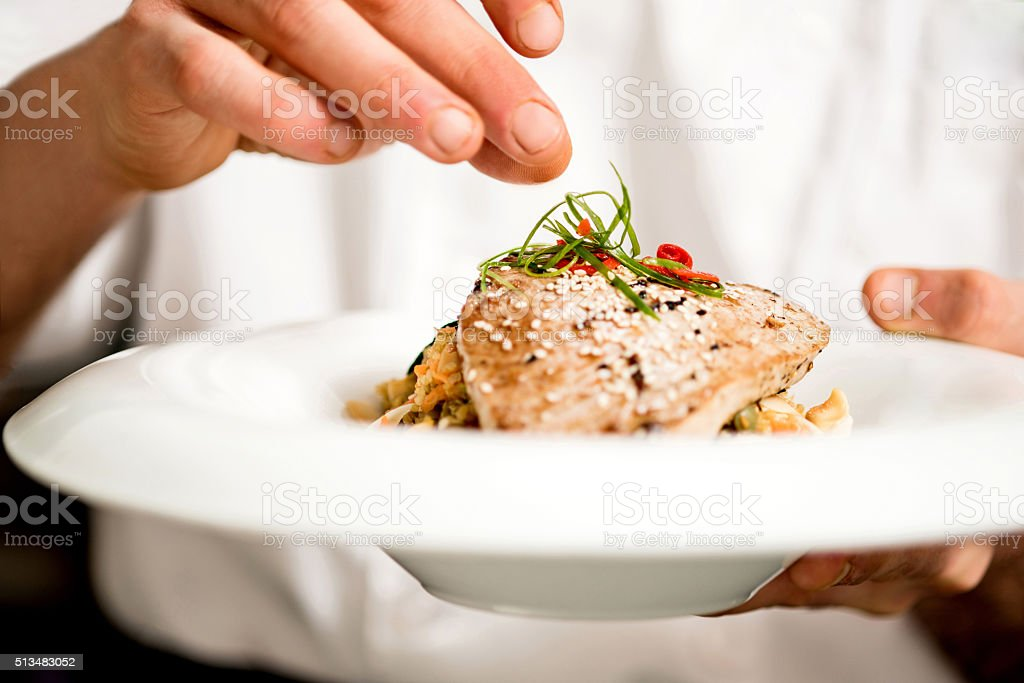 Tuna appetizer is ready to serve stock photo