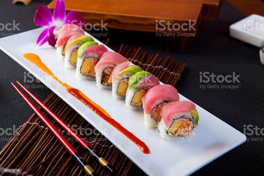 Tuna & Avocado ROll stock photo
