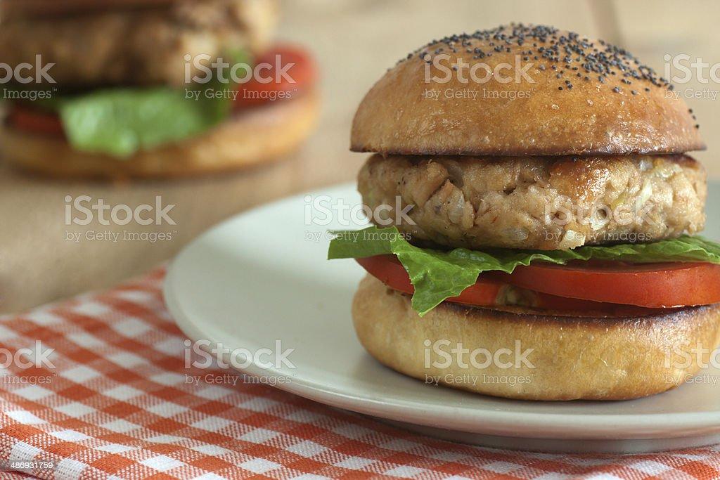 Tuna burger stock photo