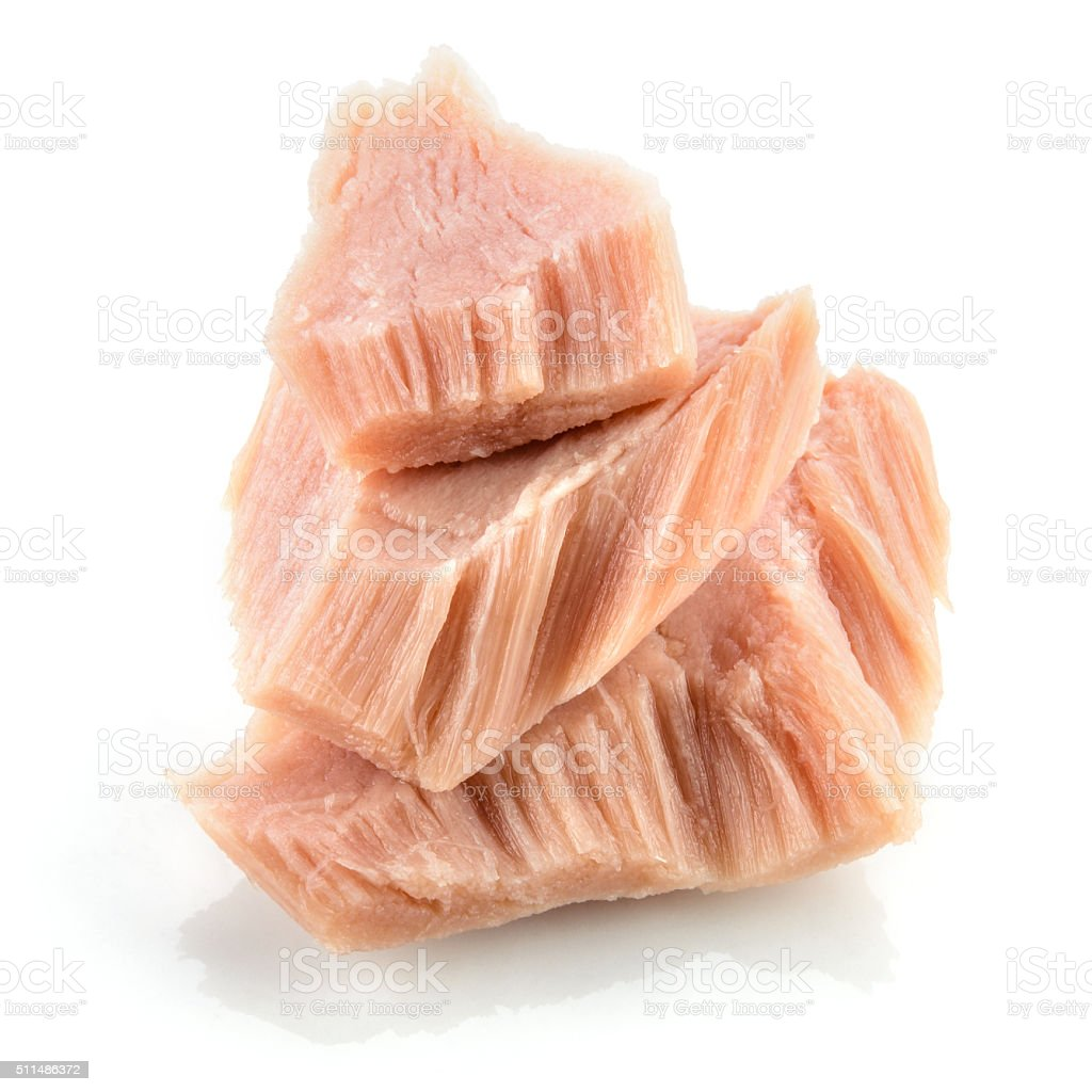 Tuna. Canned fish isolated on white. Macro. stock photo