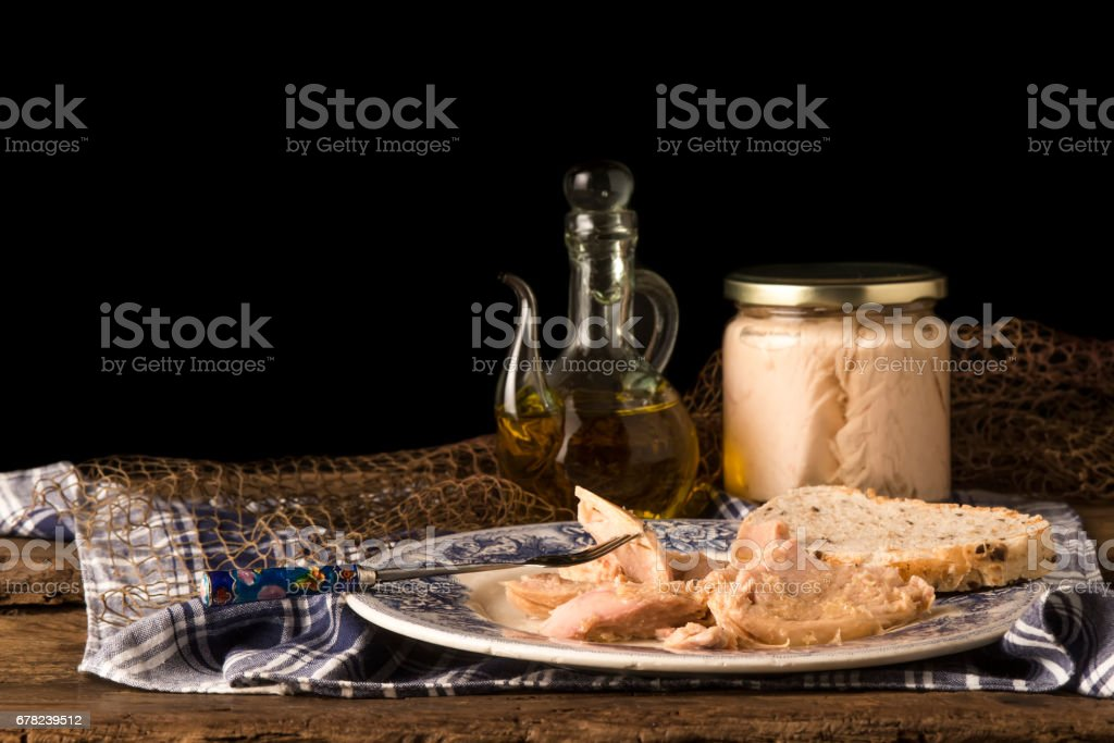 Tuna canned in olive oil stock photo