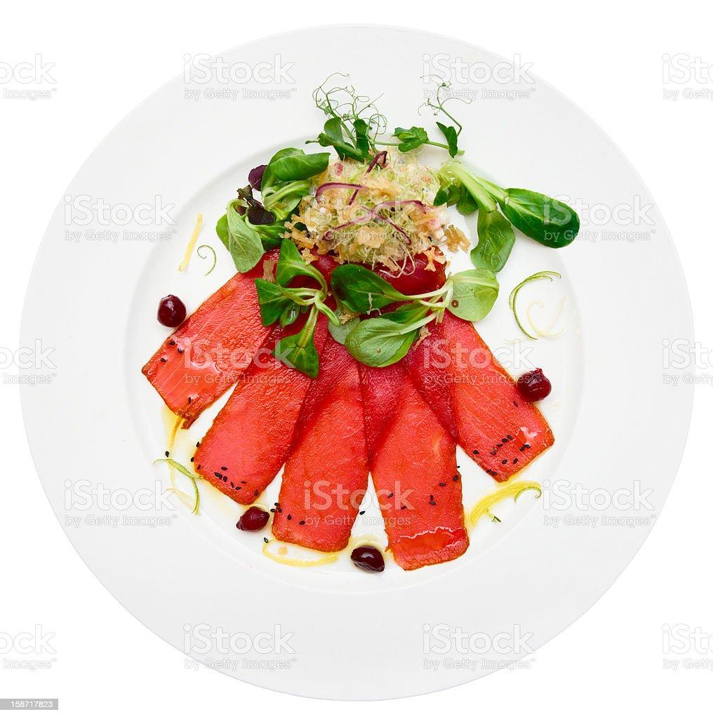 Tuna carpaccio on plate stock photo
