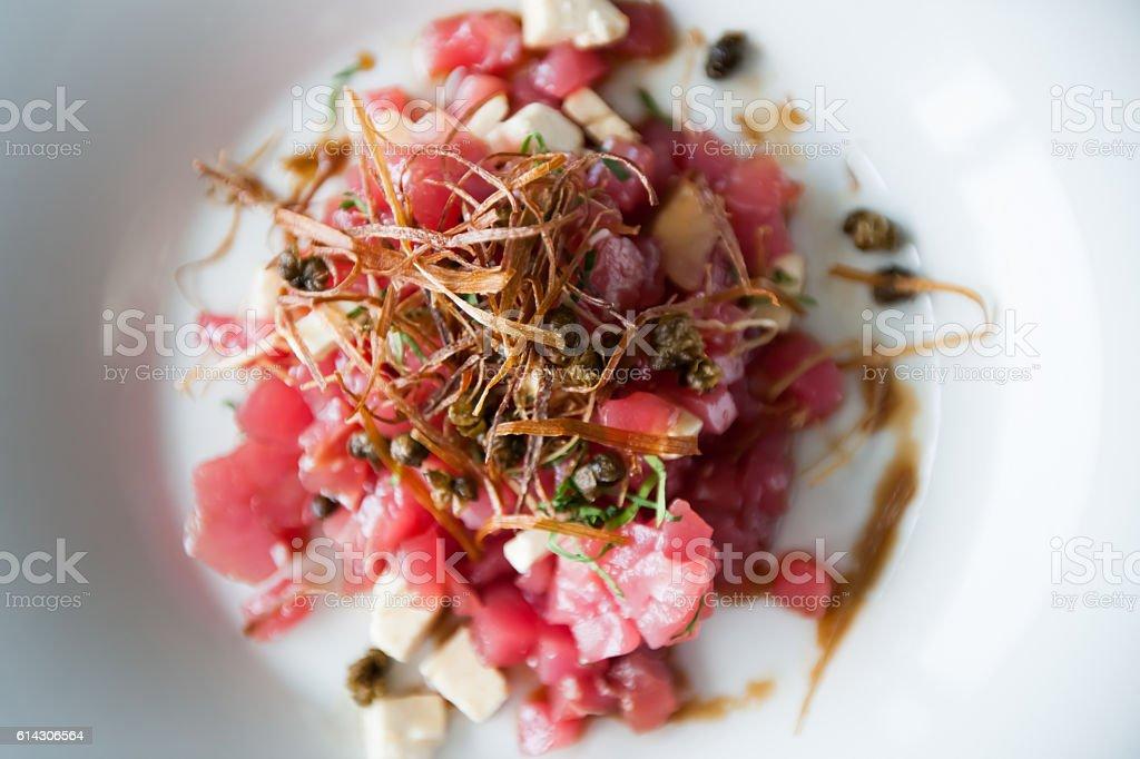 Tuna carpaccio stock photo