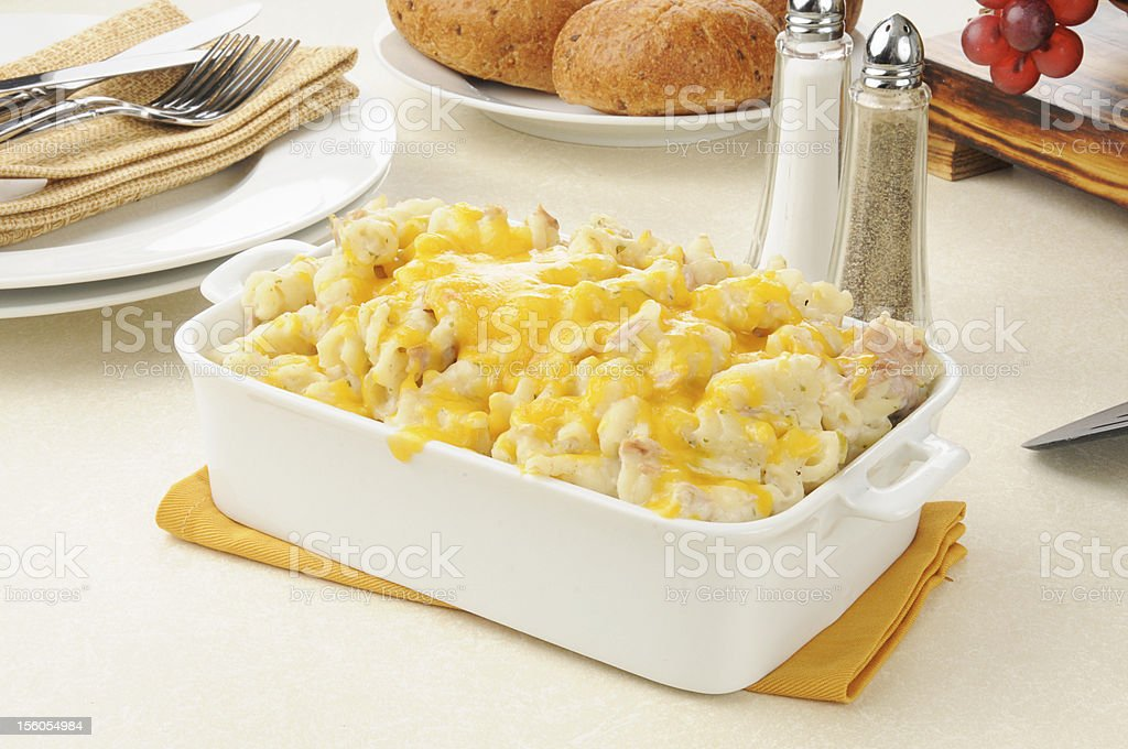 Tuna casserole topped with cheese stock photo