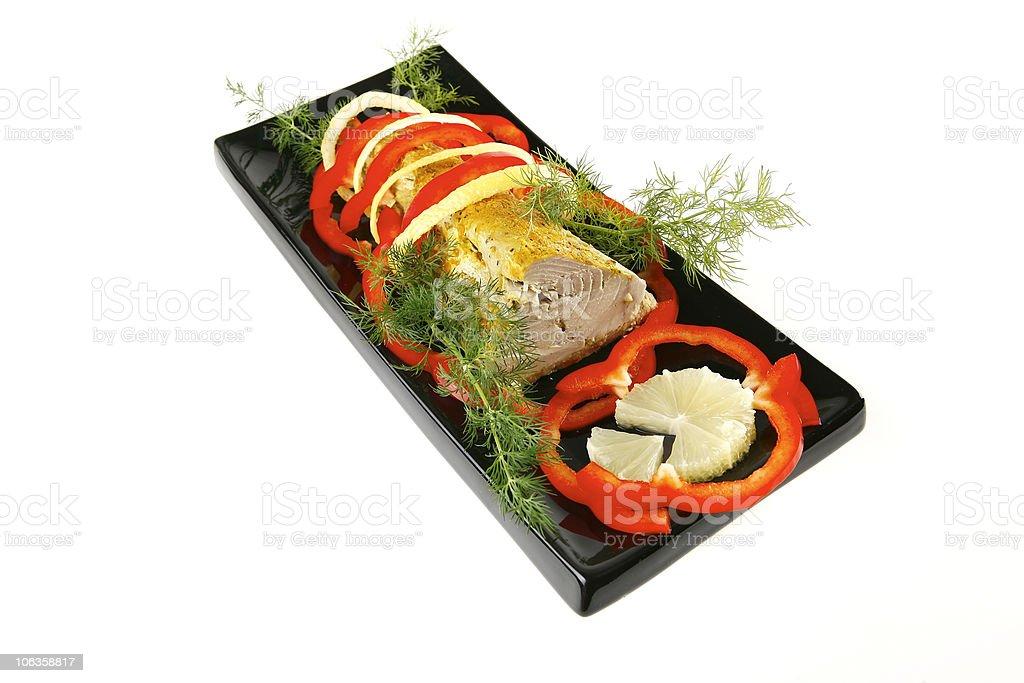 tuna chunk with cream sauce royalty-free stock photo
