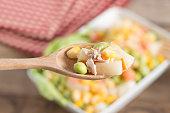 Tuna corn salad.