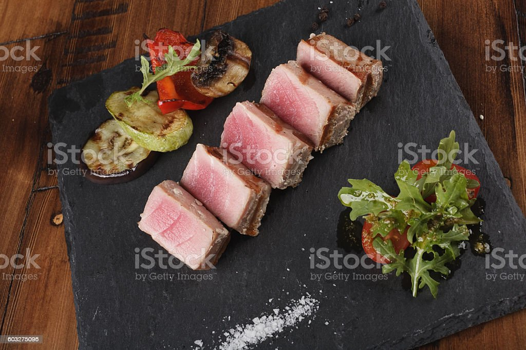 Tuna fillet slices stock photo