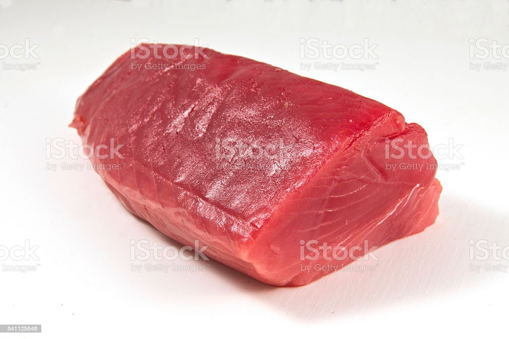 Tuna fillet, white background. stock photo