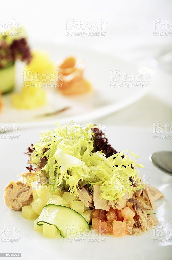 Tuna fish and potato salad stock photo