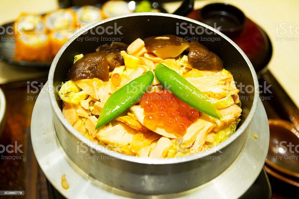Tuna fish on japanese noodles stock photo