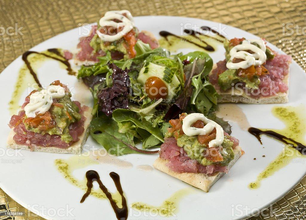 Tuna Focaccia Canapes royalty-free stock photo