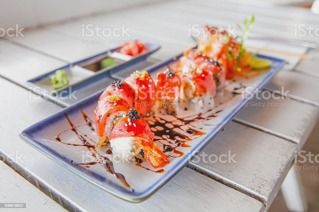 Tuna maki sushi for healthy lunch meal stock photo