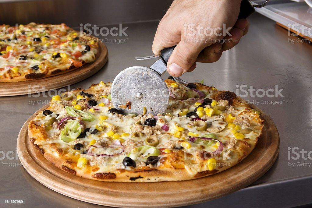 Tuna pizza stock photo