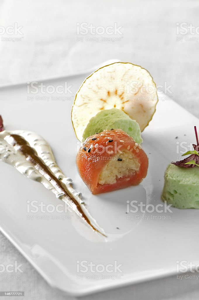 Tuna rolls plate royalty-free stock photo