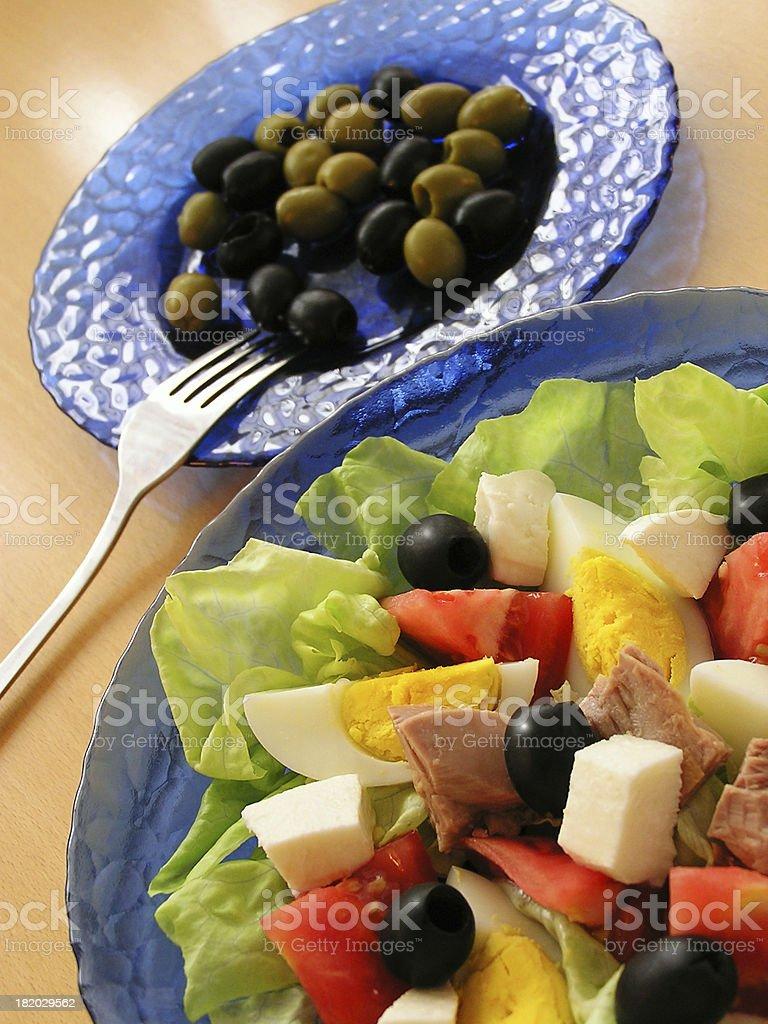 Tuna salad and olives royalty-free stock photo