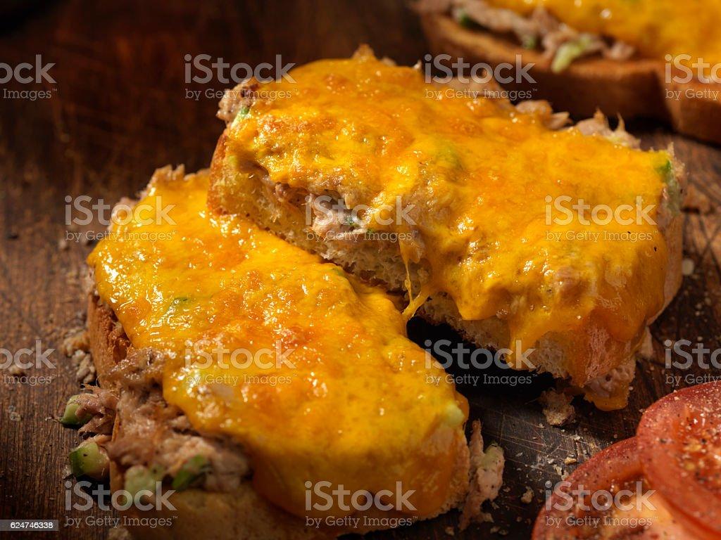 Tuna Salad Cheddar Melt stock photo