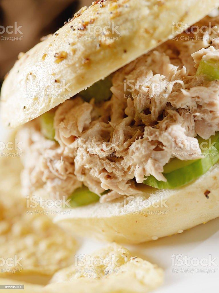 Tuna Salad in a Multigrain Bage royalty-free stock photo